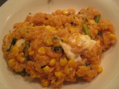 closeup risotto with corn