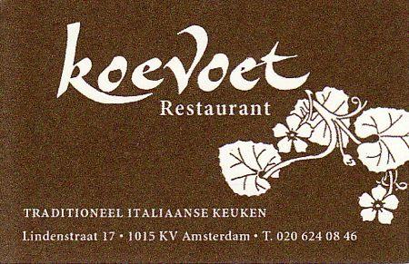 restaurant koevoet amsterdam - business card